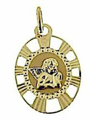 Picture of Angel of Raphael with pierced edge Sacred Oval Medal Pendant gr 1,1 Yellow Gold 18k for Woman, Boy and Girl