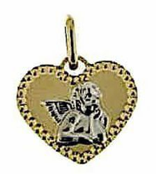 Picture of Heart with Angel of Raphael with diamond edge Sacred Medal Pendant gr 0,85 Bicolour yellow white Gold 18k for Woman, Boy and Girl