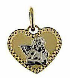 Immagine di Cuore con Angelo di Raffaello con bordo diamantato Medaglia Sacra Pendente gr 0,85 Bicolore Oro giallo bianco 18kt Donna Bimba Bimbo