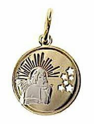 Picture of Angel of Raphael with Rays and Stars Sacred Medal Round Pendant gr 1,2 Bicolour yellow white Gold 18k for Woman, Boy and Girl