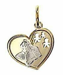 Picture of Angel of Raphael with Heart and Kids Sacred Medal Pendant gr 1,1 Bicolour yellow white Gold 18k for Woman, Boy and Girl