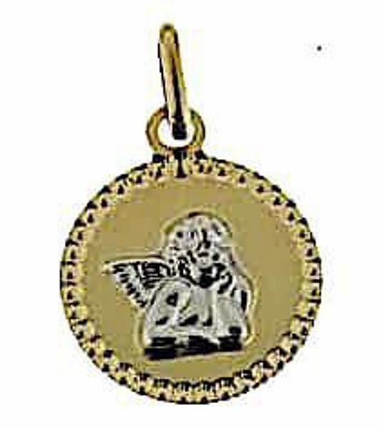 Imagen de Ángel de Rafael con borde diamantado Medalla Sagrada Colgante redonda gr 1 Bicolor Oro blanco amarillo 18kt para Mujer y para Niña y Niño