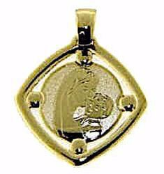 Picture of Madonna and Child Square Medal Pendant gr 0,95 Yellow Gold 9k for Woman
