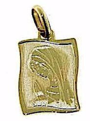 Picture of Madonna in prayer Rectangular Medal Pendant gr 1,2 Yellow Gold 9k for Woman