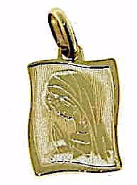 Imagen de Nuestra Señora Madonna en Oración Medalla Colgante rectangular gr 1,2 Oro amarillo 9kt para Mujer