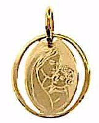 Imagen de Virgen con el Niño de Ferruzzi Medalla Sagrada Colgante oval gr 0,7 Oro amarillo 18kt para Mujer
