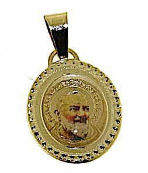 Immagine di Santo Padre Pio da Pietrelcina Medaglia Sacra Pendente ovale gr 1,2 Oro giallo 18kt con Smalto da Donna
