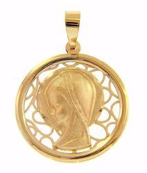 Picture of Madonna praying Perforated Background Sacred Medal Round Pendant gr 1,5 Yellow Gold 18k for Woman