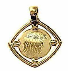 Immagine di Sacro Volto di Gesù Cristo Medaglia Sacra Pendente quadrata Bassorilievo gr 1,2 Oro giallo 18kt da Donna