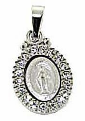 Picture of Miracolous Madonna Our Lady of Graces with Crown and Light Spots Coining Sacred Oval Medal Pendant gr 2 White Gold 18k with Zircons for Woman