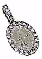 Picture of Miracolous Madonna Our Lady of Graces Sacred Oval Medal Pendant gr 1,15 White Gold 18k with Zircons for Woman