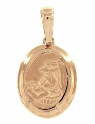 Picture of Baptism Gift of God Sacred Oval Medal Pendant gr 2,9 Yellow Gold 18k for Baby Girl and Boy