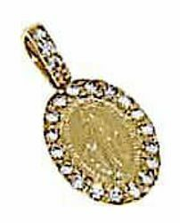 Picture of Miracolous Madonna Our Lady of Graces Sacred Oval Medal Pendant gr 1,05 Bicolour yellow white Gold 18k with Zircons for Woman