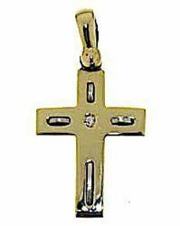 Immagine di Croce moderna con inserti Ciondolo Pendente gr 2,8 Bicolore Oro giallo bianco 18kt con Diamanti taglio a Brillante Unisex Donna Uomo