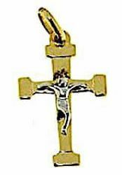 Picture of Straight Cross with Body of Christ Pendant gr 1,05 Bicolour yellow white Gold 18k relief printed plate Unisex Woman Man