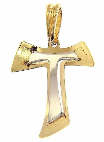 Immagine di Croce Tau di San Francesco doppia traforata Ciondolo Pendente gr 1 Bicolore Oro giallo bianco 18kt lastra stampata a rilievo Unisex Donna Uomo