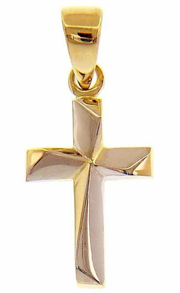 Picture of Modern helix Cross Pendant gr 0,9 Bicolour yellow white Gold 18k relief printed plate Unisex Woman Man