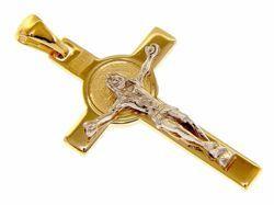 Immagine di Croce di San Benedetto con INRI Ciondolo Pendente gr 3 Bicolore Oro massiccio giallo bianco 18kt Unisex Donna Uomo