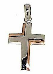Picture of Modern Double Cross Pendant gr 2,7 Bicolour rose white solid Gold 18k Unisex Woman Man