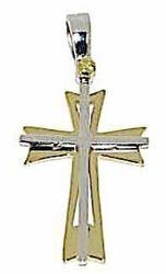Immagine di Croce doppia a 8 punte traforata Ciondolo Pendente gr 2,9 Bicolore Oro massiccio giallo bianco 18kt Unisex Donna Uomo