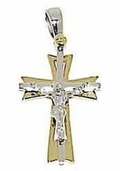 Picture of 8-pointed perforated Double Cross with Body of Christ Pendant gr 3,1 Bicolour yellow white solid Gold 18k Unisex Woman Man