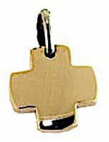 Immagine di Croce quadrata liscia Ciondolo Pendente gr 2,4 Bicolore Oro massiccio rosa bianco 18kt Unisex Donna Uomo