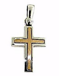 Picture of Double Straight Cross Pendant gr 2 Bicolour rose white solid Gold 18k Unisex Woman Man