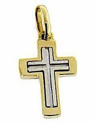 Immagine di Croce tripla latina Ciondolo Pendente gr 3,6 Bicolore Oro massiccio giallo bianco 18kt Unisex Donna Uomo