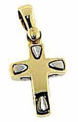 Immagine di Croce design stile moderno Ciondolo Pendente gr 2,1 Bicolore Oro massiccio giallo bianco 18kt Unisex Donna Uomo