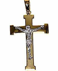 Picture of Cross with Body of Christ Pendant gr 7 Bicolour yellow white solid Gold 18k Unisex Woman Man