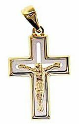 Picture of Perforated double Straight Cross with Body of Christ Pendant gr 2,3 Bicolour yellow white solid Gold 18k Unisex Woman Man