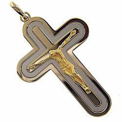 Immagine di Croce tripla stondata con corpo di Cristo Ciondolo Pendente gr 14,6 Bicolore Oro massiccio giallo bianco 18kt Unisex Donna Uomo