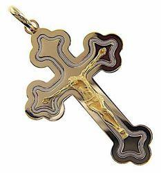 Immagine di Croce tripla trilobata con corpo di Cristo Ciondolo Pendente gr 14 Bicolore Oro massiccio giallo bianco 18kt Unisex Donna Uomo