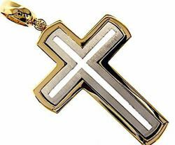 Immagine di Croce tripla stondata traforata Ciondolo Pendente gr 18,5 Bicolore Oro massiccio giallo bianco 18kt Unisex Donna Uomo