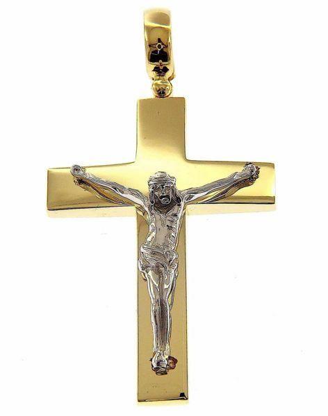 Imagen de Cruz recta con Cuerpo de Cristo Colgante gr 13 Bicolor Oro blanco amarillo macizo 18kt Unisex Mujer Hombre