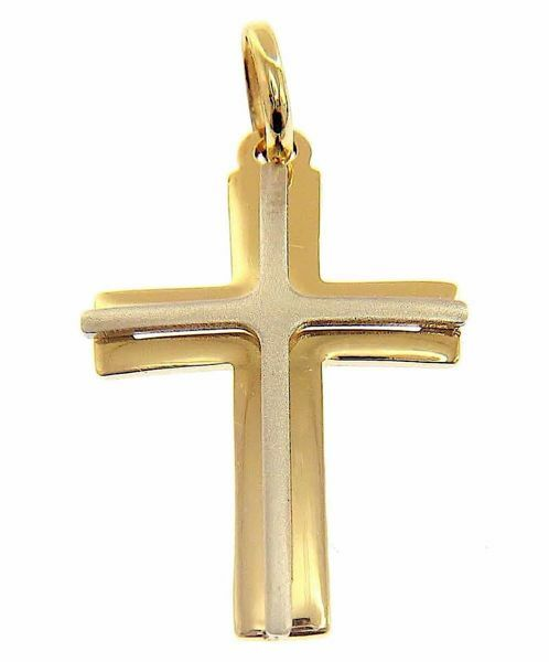 Picture of Double arch perforated Cross Pendant gr 1,3 Bicolour yellow white solid Gold 18k Unisex Woman Man