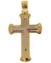 Immagine di Croce bizantina doppia Ciondolo Pendente gr 4,3 Bicolore Oro massiccio giallo bianco 18kt Unisex Donna Uomo