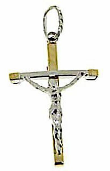 Picture of Curved Cross with Body of Christ Pendant gr 1,1 Bicolour yellow white Gold 18k Hollow Tube Unisex Woman Man