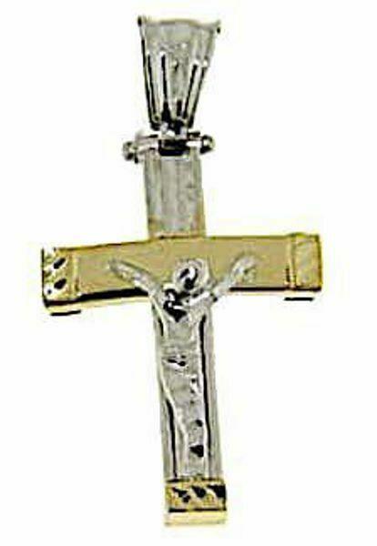 Immagine di Croce arcuata con corpo di Cristo Ciondolo Pendente gr 2,4 Bicolore Oro giallo bianco 18kt a Canna vuota Unisex Donna Uomo