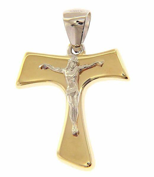 Immagine di Croce Tau di San Francesco con corpo di Cristo Ciondolo Pendente gr 1,9 Bicolore Oro giallo bianco 18kt a Canna vuota Unisex Donna Uomo