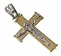 Picture of Straight Cross with Body of Christ Pendant gr 3,2 Bicolour yellow white Gold 18k Hollow Tube Unisex Woman Man