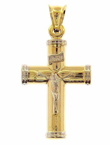Immagine di Croce a colonna con corpo di Cristo INRI Ciondolo Pendente gr 2,3 Bicolore Oro giallo bianco 18kt a Canna vuota Unisex Donna Uomo