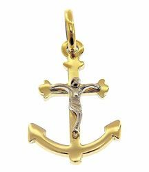 Picture of Anchor Cross with Body of Christ Pendant gr 1,1 Bicolour yellow white Gold 18k Hollow Tube Unisex Woman Man