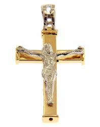 Picture of Straight Cross with Body of Christ Pendant gr 2,1 Bicolour yellow white Gold 18k Hollow Tube Unisex Woman Man