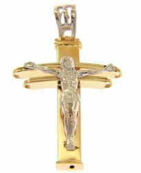 Picture of Patriarchal Cross with Body of Christ Pendant gr 3,6 Bicolour yellow white Gold 18k Hollow Tube Unisex Woman Man