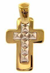 Immagine di Croce doppia con motivo diamantato Ciondolo Pendente gr 3,1 Bicolore Oro giallo bianco 18kt a Canna vuota Unisex Donna Uomo