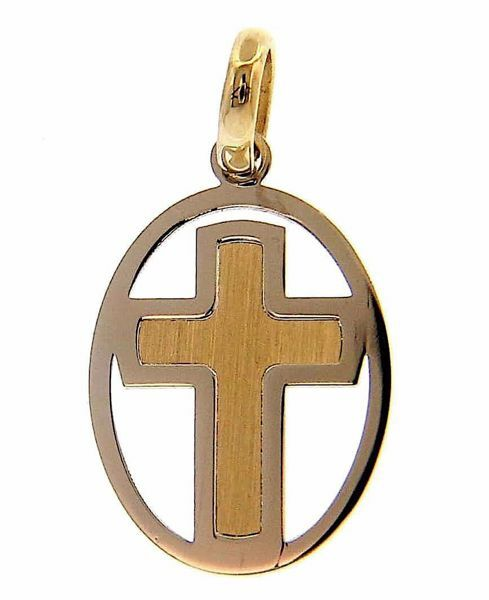 Picture of Perforated Double Cross Pendant gr 0,7 Bicolour yellow white Gold 18k Hollow Tube Unisex Woman Man