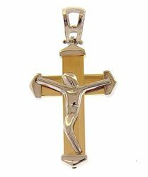 Picture of Modern Cross with Body of Christ Pendant gr 3,6 Bicolour yellow white Gold 18k Hollow Tube Unisex Woman Man