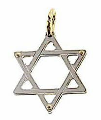 Picture of 6-pointed Star of David Shield Double Pendant gr 1,3 Bicolour yellow white Gold 18k Unisex Woman Man