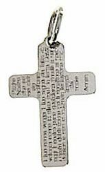 Picture of Cross with prayer Padre Nostro Pendant gr 1 White Gold 18k relief printed plate Unisex Woman Man